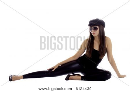 Model In Black With Beret And Sunglasses
