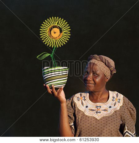 South African Zulu Woman Basket Sales Woman Blackboard Sunflower