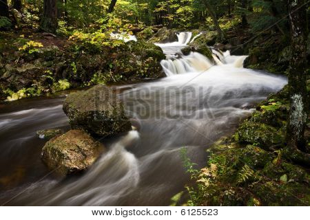 Michigan Upper Peninsula Waterfall In Autumn