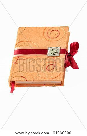 romantic closed memo book isolated on white background