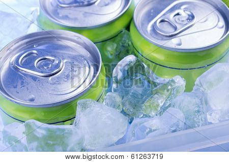 green Soda can in crushed ice