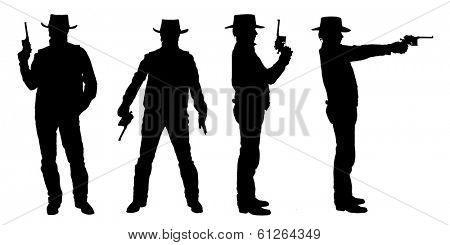 Silhouettes of cowboy with a gun isolated on white.
