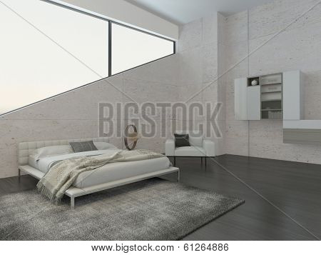 Modern bedroom interior with cozy king-size bed