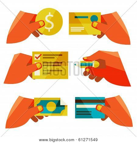clients purchasing work. Flat design modern vector illustration stylish colors of hand holding a business card and hand holding a coin poster