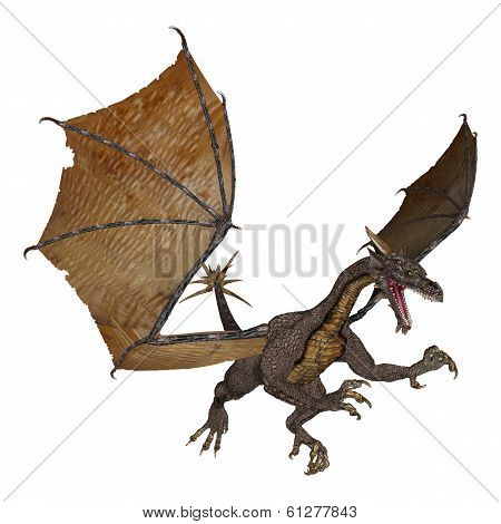 3D digital render of an evil fantasy dragon isolated on white background poster