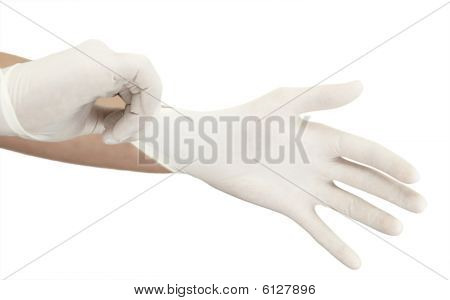 Pulling On Surgical Glove