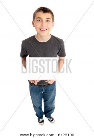 Boy Holds A Sign