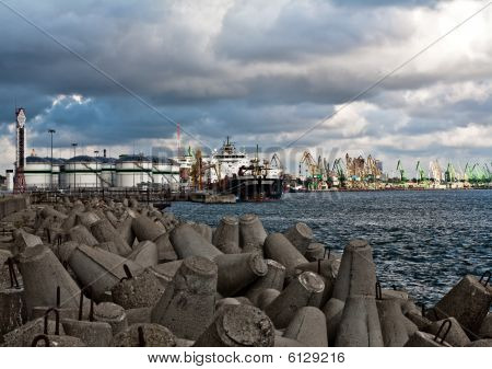 Vessel At The Petroleum Terminal  Port