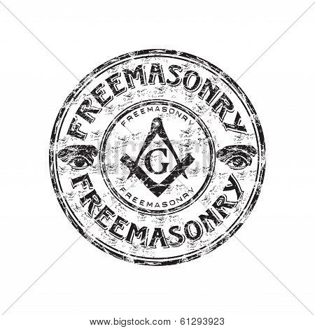Black grunge rubber stamp with freemasonry symbols and the word freemasonry written inside the stamp poster