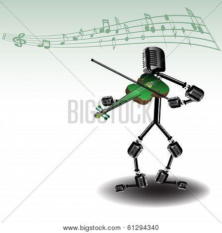 Playing at the violin
