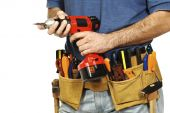 close up on handyman tools on white background poster