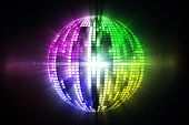 Cool disco ball design on black background poster
