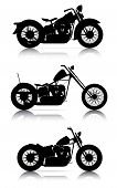 set of high quality motorcycle silhouettes on white poster