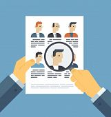 Flat design style modern vector illustration concept of human resources management finding professional staff head hunter job employment issue and analyzing personnel resume. Isolated on stylish color background poster