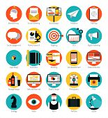 Flat design icons set modern style vector illustration concept of web development service social media marketing graphic design business company branding items and advertising elements. Isolated on white background. poster