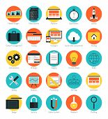 Flat design icons set modern style vector illustration concept of responsive design web interface website analytics search engine optimization html coding webpage wireframe and prototyping elements. Isolated on color background poster