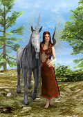3D digital render of a beautiful fairy with a fairytale unicorn in the fantasy forest poster