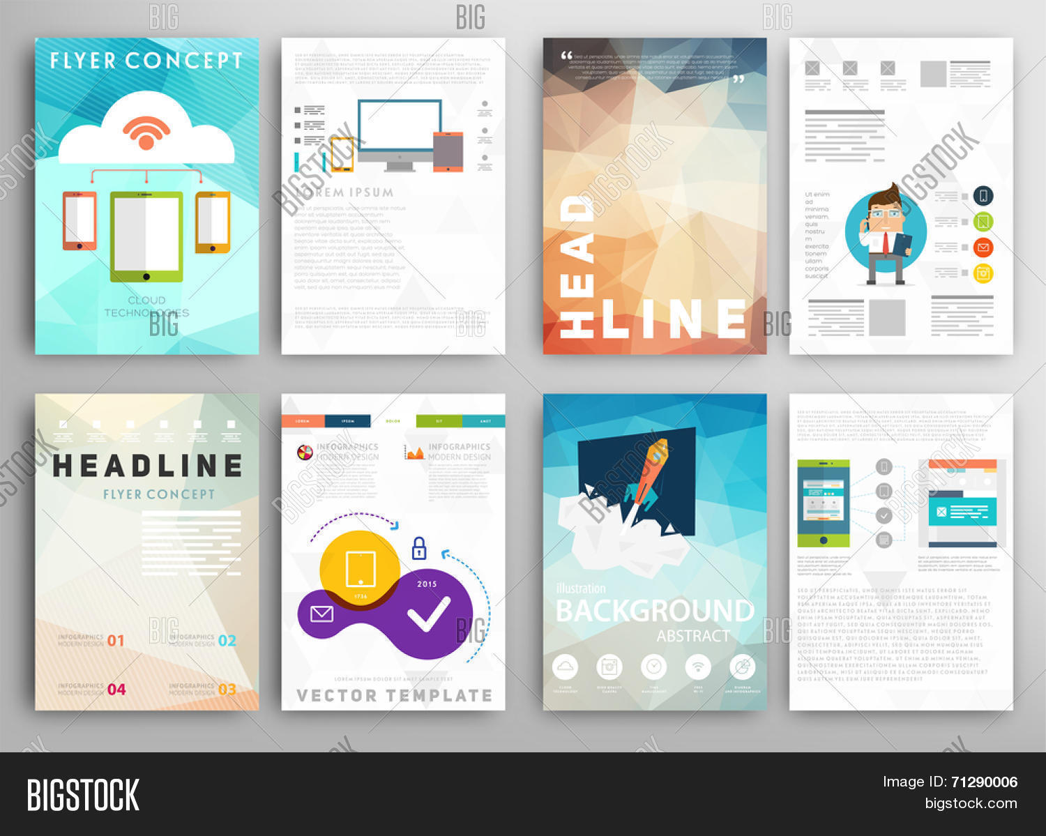 Set Flyer Brochure Vector Photo Free Trial Bigstock