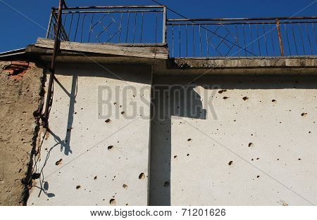 Bullet Marked Wall In Mostar