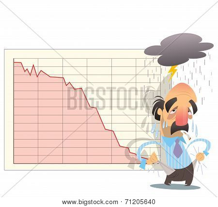 Financial Market Graph Goes Down In Economy Bankrupt Crisis