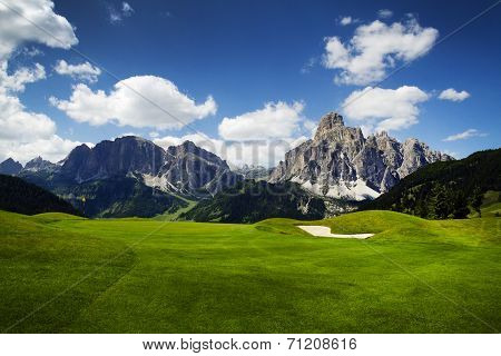 Golf Course In The Italian Dolomites