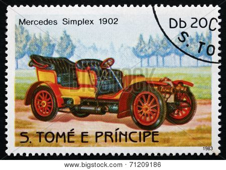 Postage Stamp Sao Tome And Principe 1983 Mercedes Simplex, 1902,