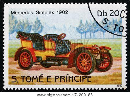 Postage Stamp Sao Tome And Principe 1983 Mercedes Simplex, 1902,