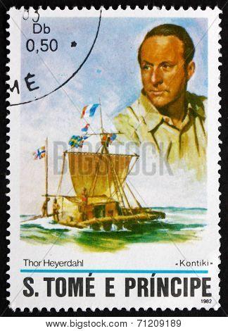 Postage Stamp Sao Tome And Principe 1982 Thor Heyerdahl, Kon-tik