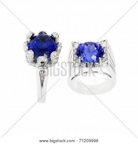 Two Different Ladies Rings with Tanzanite and Diamonds, Designer Jewellery, Isolated on White Backgr
