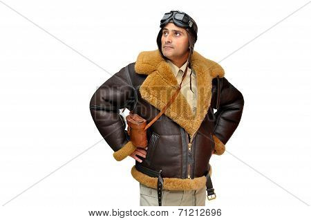 WWII fighter pilot isolated in white background poster
