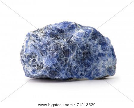 Sodalite sample or rock , isolated on white.