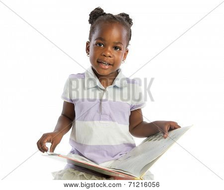 Four Years Old African American Girl Reading Book Isolated on White background