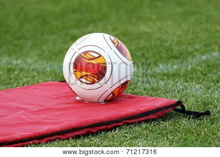 Europa League Balls On The Field With Mattress During The Training Of Paok In Thessaloniki, Greece.