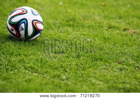 Greek Superleague Brazuca (mundial) Ball On The Field During The Training Of Paok In Thessaloniki, G