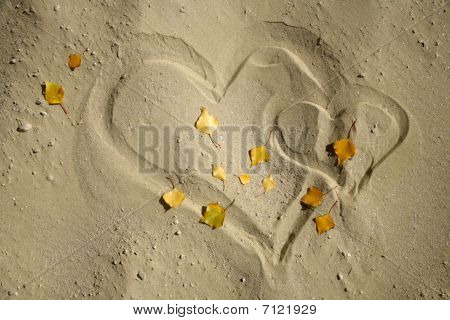 Stock Photo: heart in the sand and the leafs