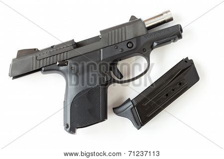 Black Gun Isolated A White Background.