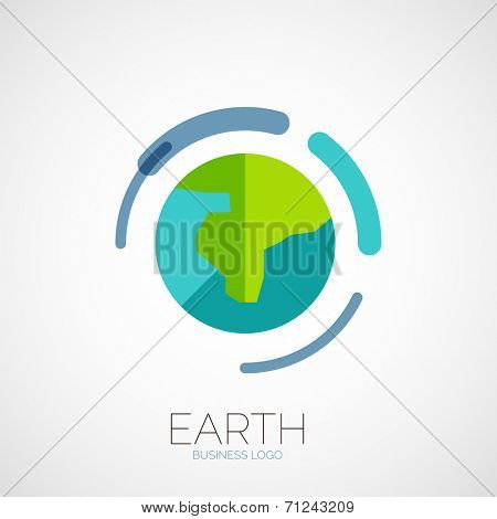 Earth company logo design, business abstract concept in circle, flat design