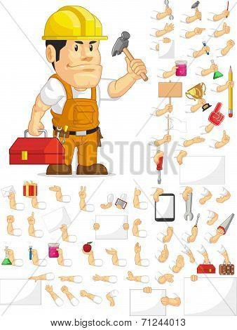 Strong Construction Worker Customizable Mascot Set