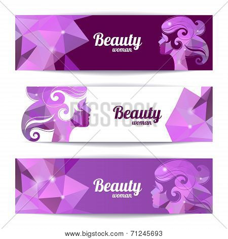 Banners with woman silhouette and triangle pattern