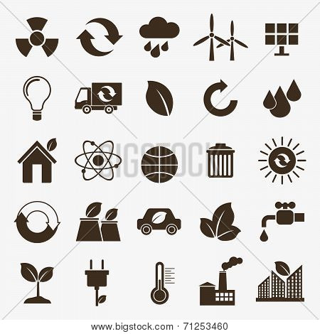 Ecology flat material design concept with ecology environment green energy and pollution icons set