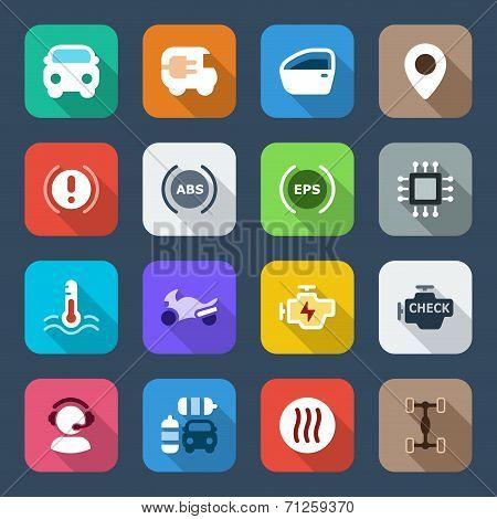 Flat Icon set Automobile Colorful