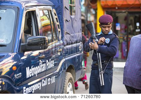 KATHMANDU, NEPAL - DEC 2, 2013: Polices during protest within a campaign to end violence against women (VAW) Held annually since 1991, 16 days Nov 25 - Dec 10.