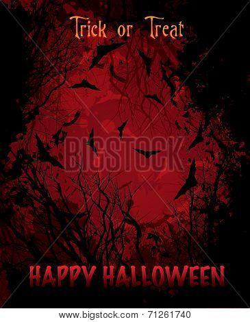 Halloween night red background illustration