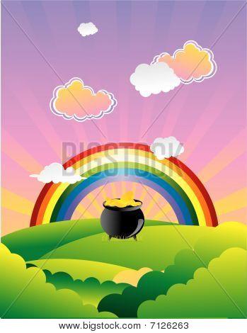 golden pot beneath the rainbow