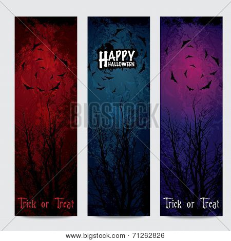 Halloween vertical banners set with text