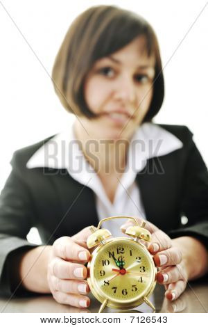 Time Maagement Concept With Business Woman Isolated On White