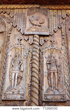 Detail Of Wooden Door On Cocos Monastery, Dobrogea , Romania