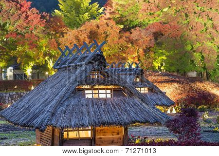 Kawaguchi-ko, Japan fall light up and village replica.