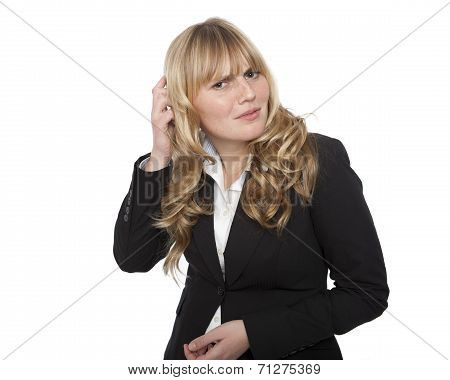 Puzzled Young Businesswoman