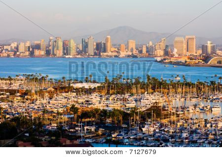 Office buildings in San Diego at sunset poster